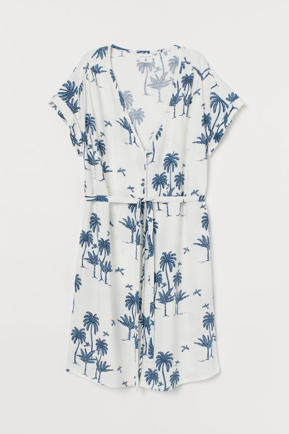 Linen-blend Dress - Natural white/palm trees - Ladies | H&M US 4