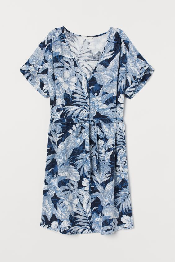 Linen-blend Dress - Blue/leaf print - Ladies | H&M. #dresses #summerdresses #tropical #linendress #bluedress #summerfashion
