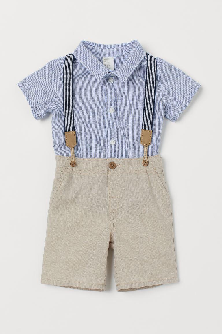 2-Teile-Taufanzug mit Hosenträgern von H&M