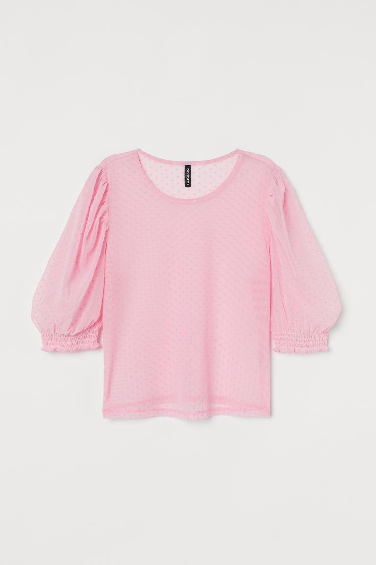 Shirt aus Mesh mit kurzen Puffärmeln und gesmokten Abschlüssen