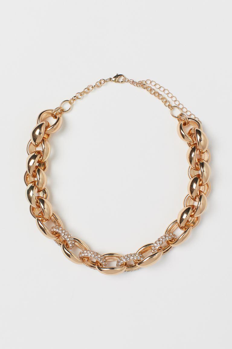 Dicke Glieder-Halskette mit Glitzersteinen
