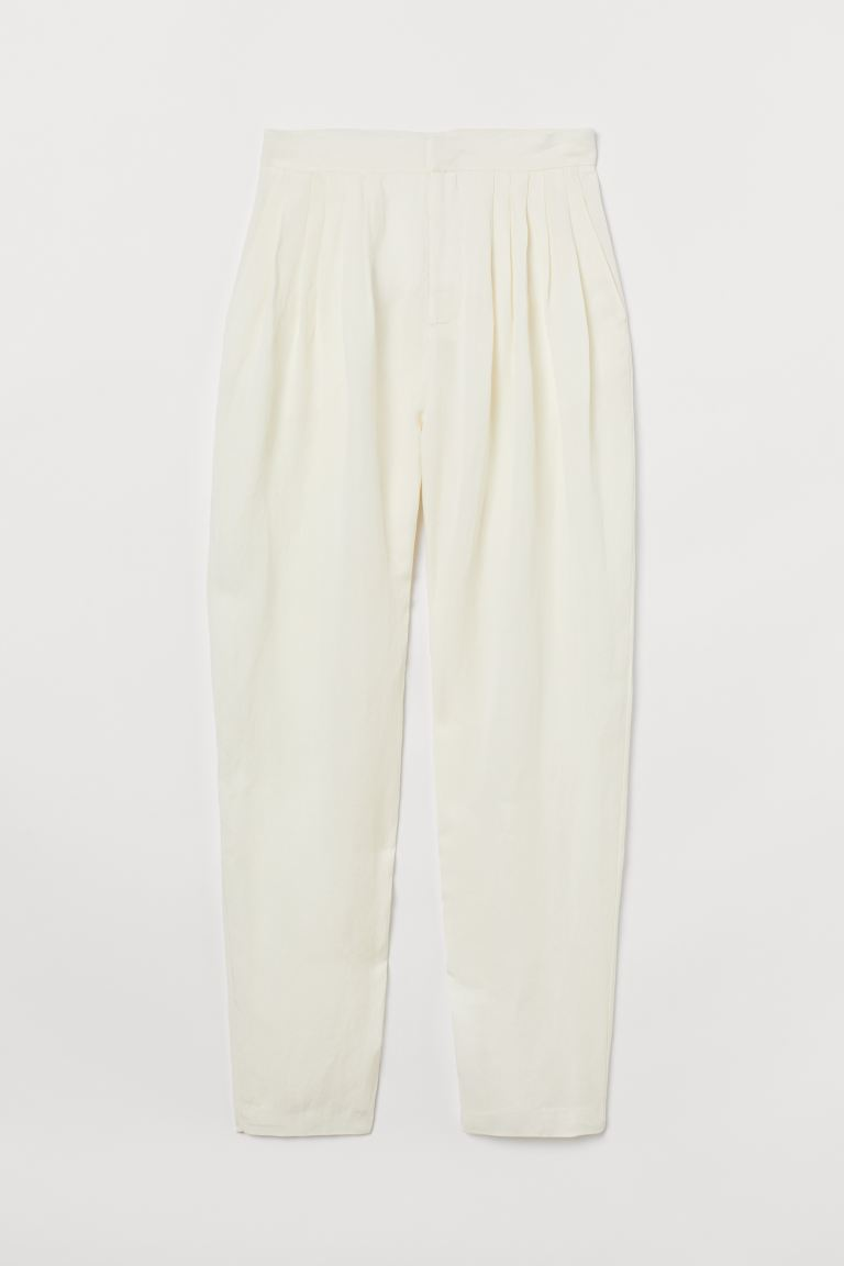 Wide Twill Trousers White
