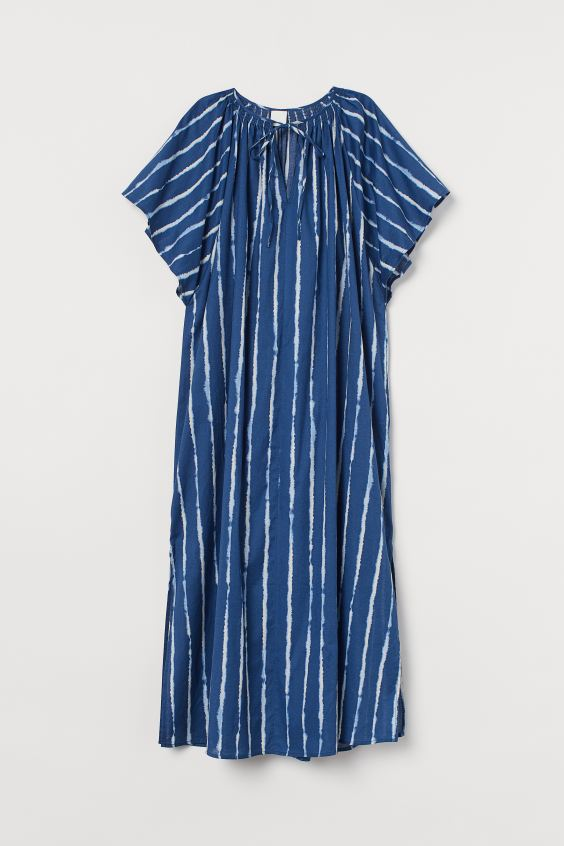 Wide-cut Cotton Dress - Blue/batik-patterned - Ladies | H&M. #bluedress #batikpattern #dresses #summerdresses #fashion