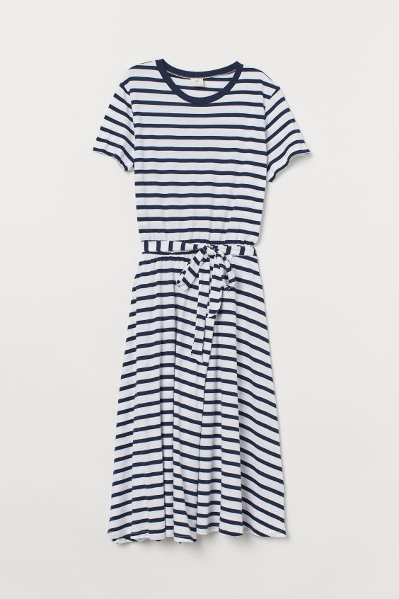 Tie-belt Jersey Dress - Dark blue/white striped - Ladies | H&M. #dresses #bluestripes #summerdresses #jersey