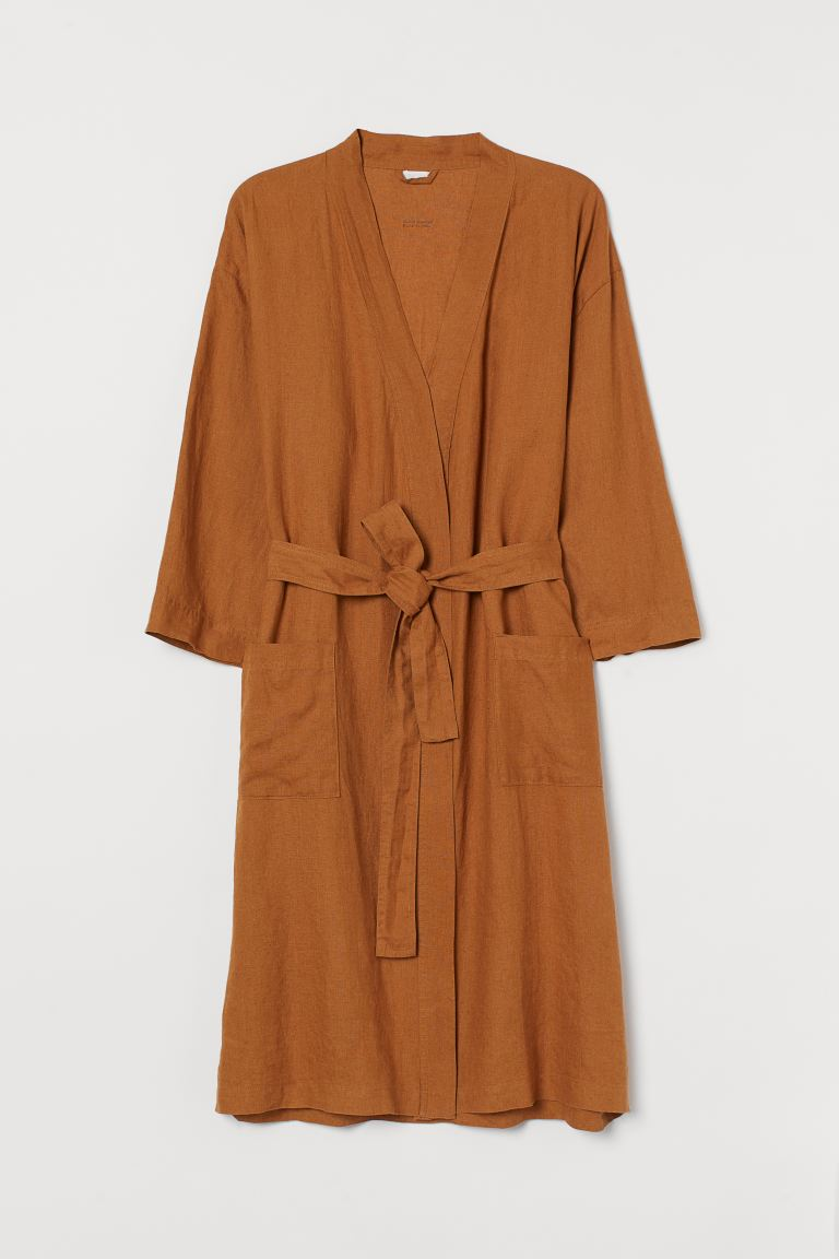 Washed Linen Bathrobe - Light brown - | H&M
