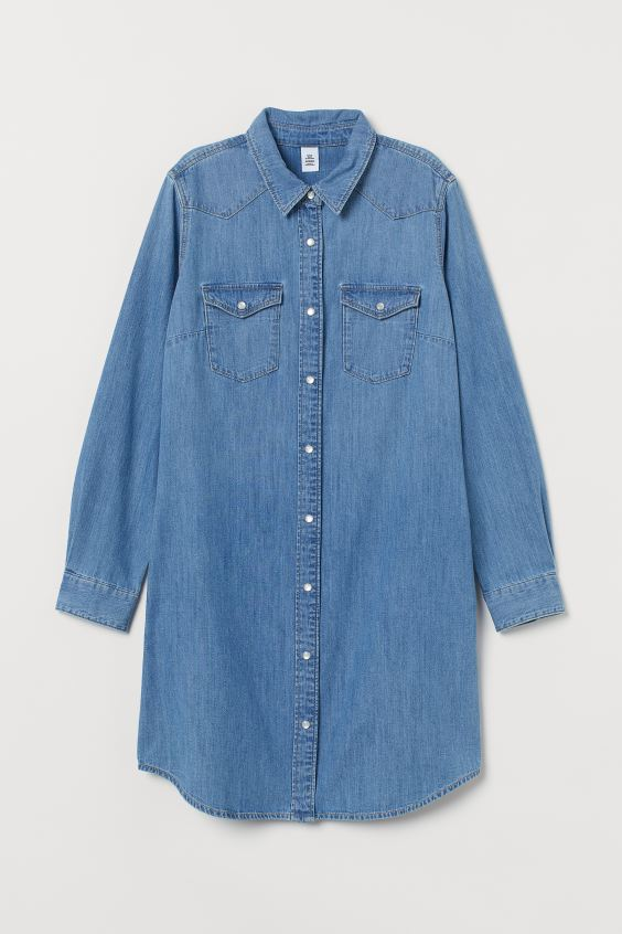 Denim Shirt Dress - Denim blue - Ladies | H&M US 4