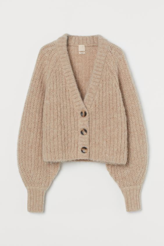 Beige Knitted Wool Cardigan