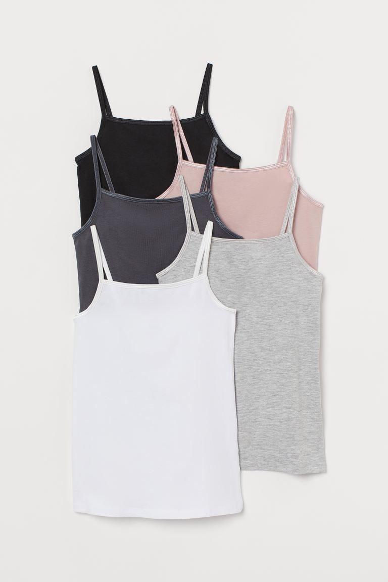5-pack jersey strappy tops