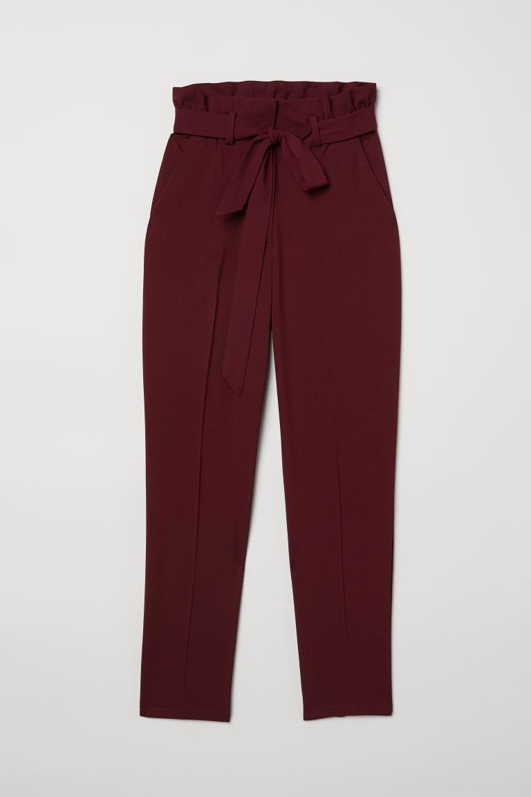 Paper bag trousers - Burgundy - Ladies | H&M GB
