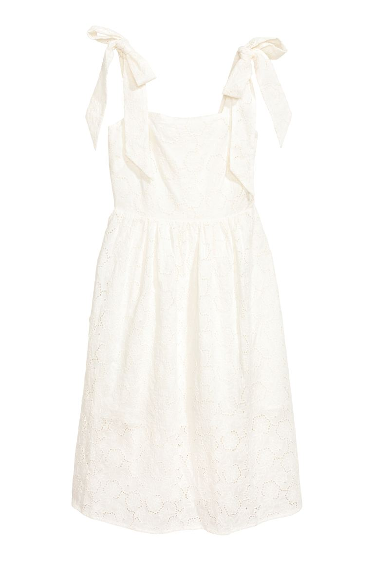 Dress with broderie anglaise - White - Ladies | H&M GB