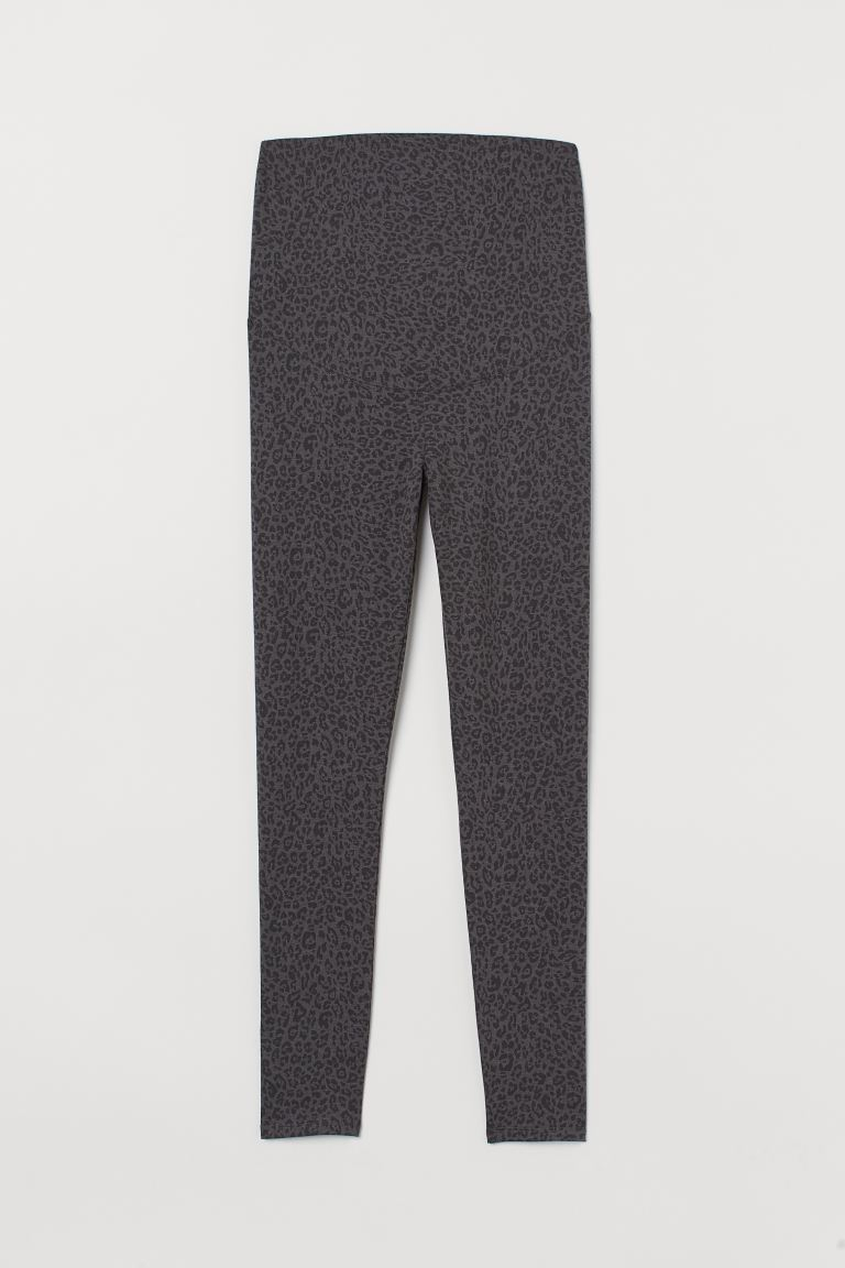 MAMA Jersey Leggings - Dark gray/leopard print - Ladies | H&M CA