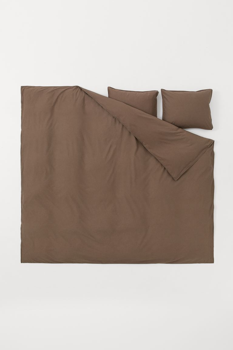 Washed Cotton Duvet Cover Set - Dark brown - Home All | H&M US
