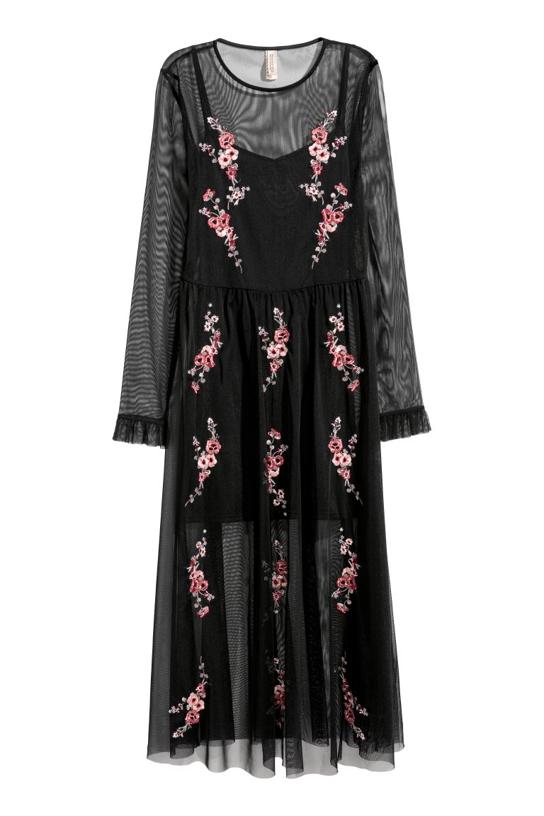 Embroidered mesh dress - Black/Floral - Ladies | H&M