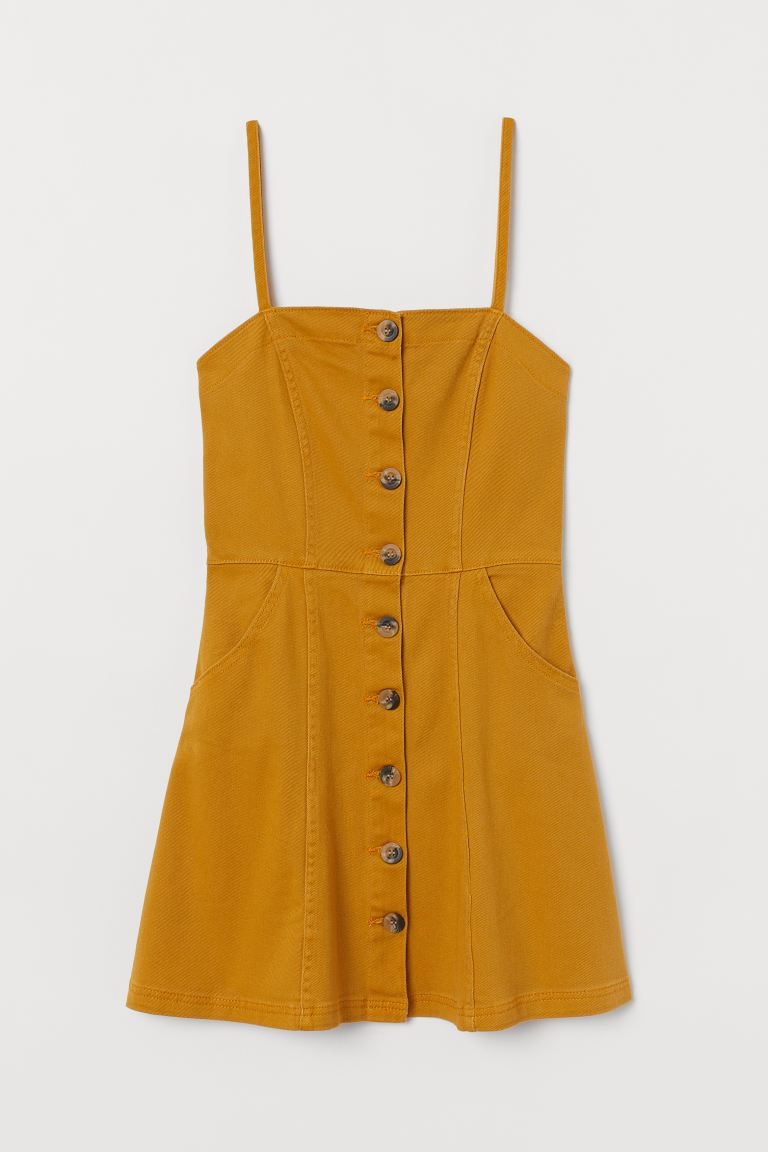 Fitted Dress - Mustard yellow - Ladies | H&M US