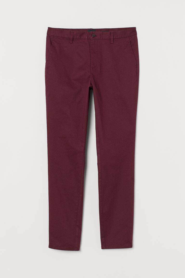 Chino en coton Slim fit - Bordeaux - HOMME | H&M FR