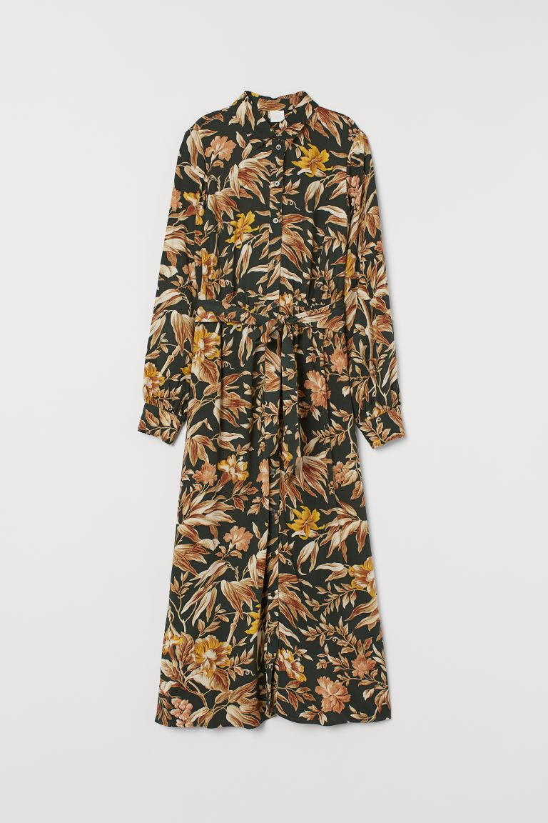 Shirt dress with a tie belt - Dark green/Floral - Ladies | H&M IE