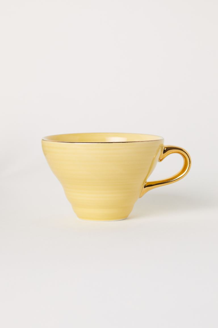 Textured porcelain cup - Yellow - Home All | H&M GB