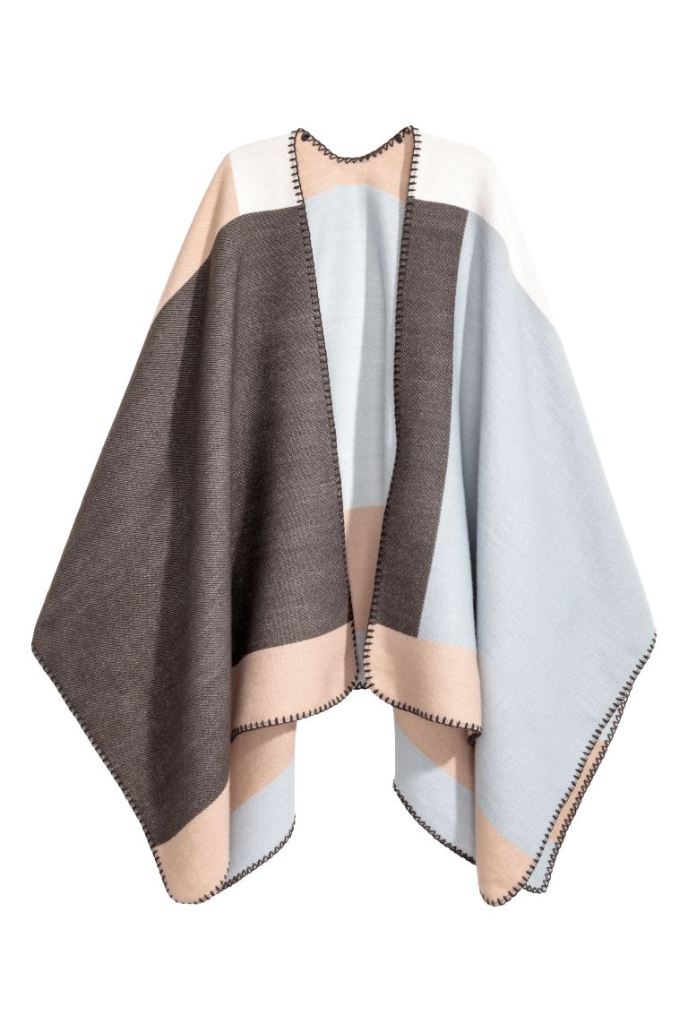Poncho - Beige/Light blue - Ladies | H&M GB