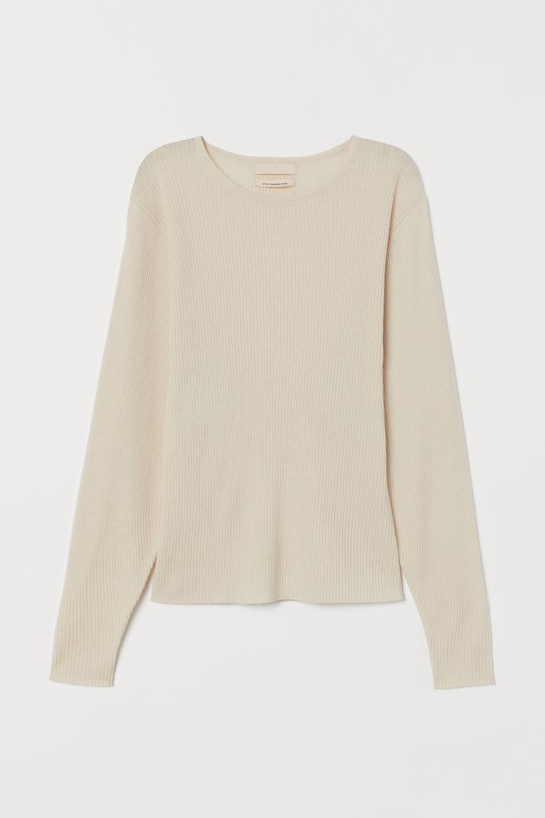 Fine-knit cashmere-mix jumper - Powder beige - Ladies | H&M GB