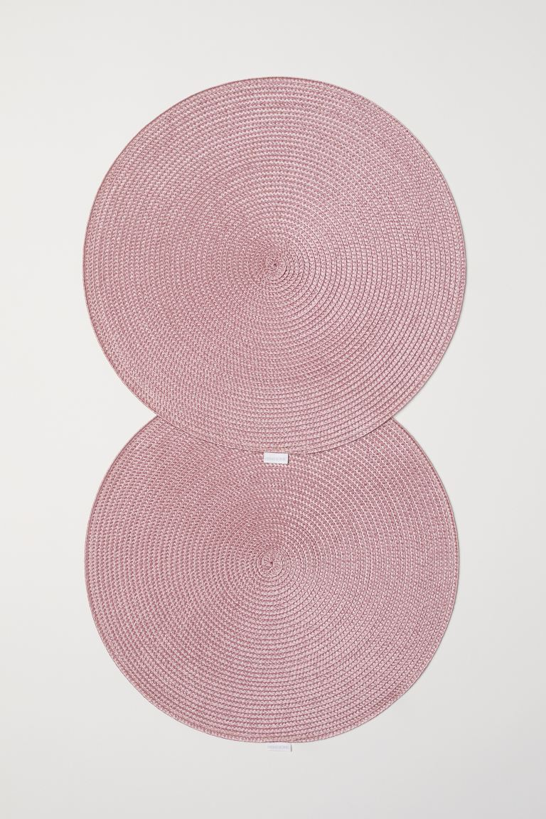 2-pack round table mats - Dusky pink - Home All | H&M GB