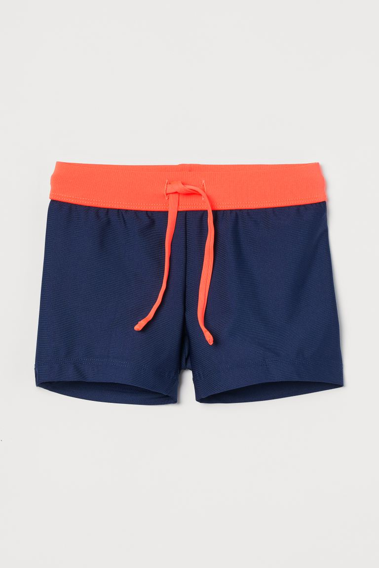 Swimming trunks - Dark blue/Neon orange - Kids | H&M GB