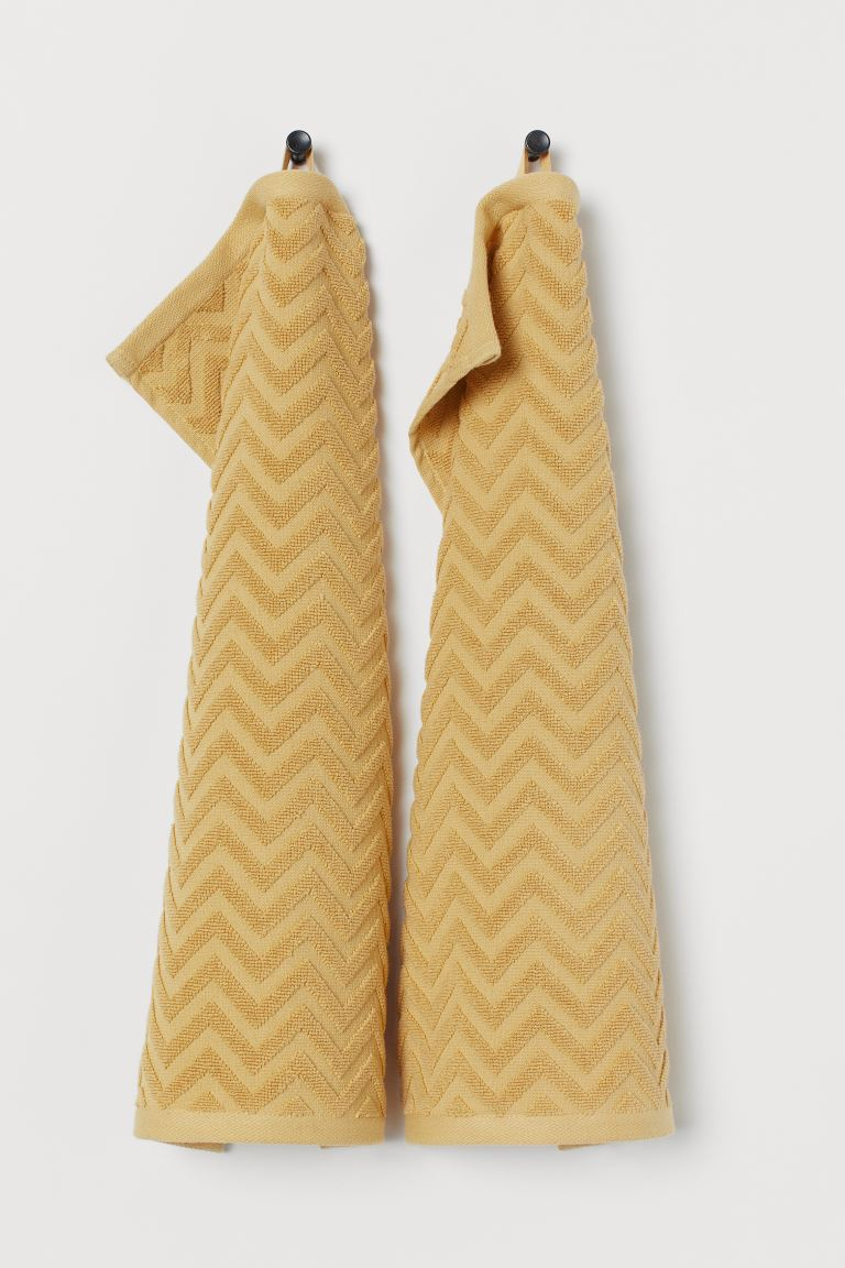2-pack guest towels - Light yellow - Home All | H&M GB