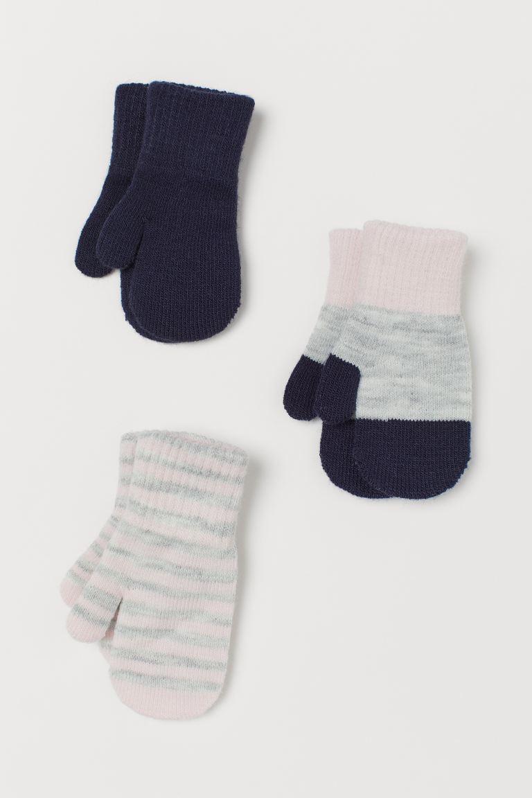 3-pack mittens - Pink/Grey Marl/Dark blue -    H&M GB