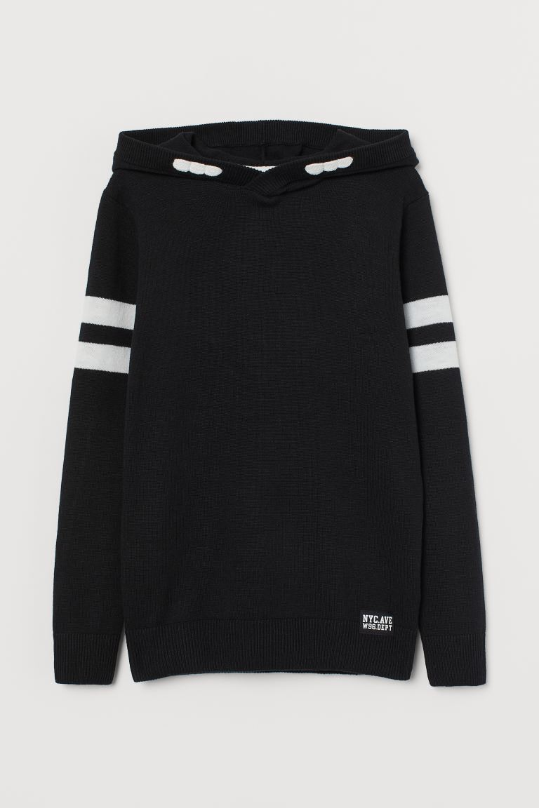 Fine-knit Hoodie - Black/white - Kids | H&M US