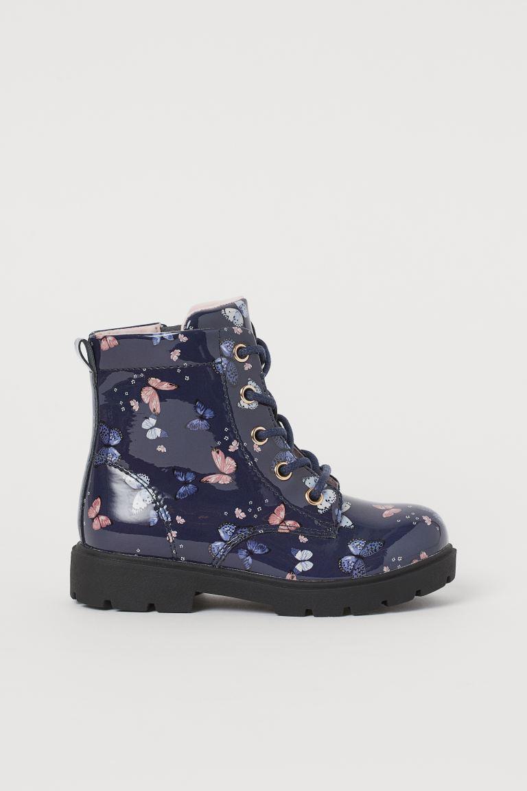 Patent boots - Dark blue/Butterflies - Kids | H&M GB