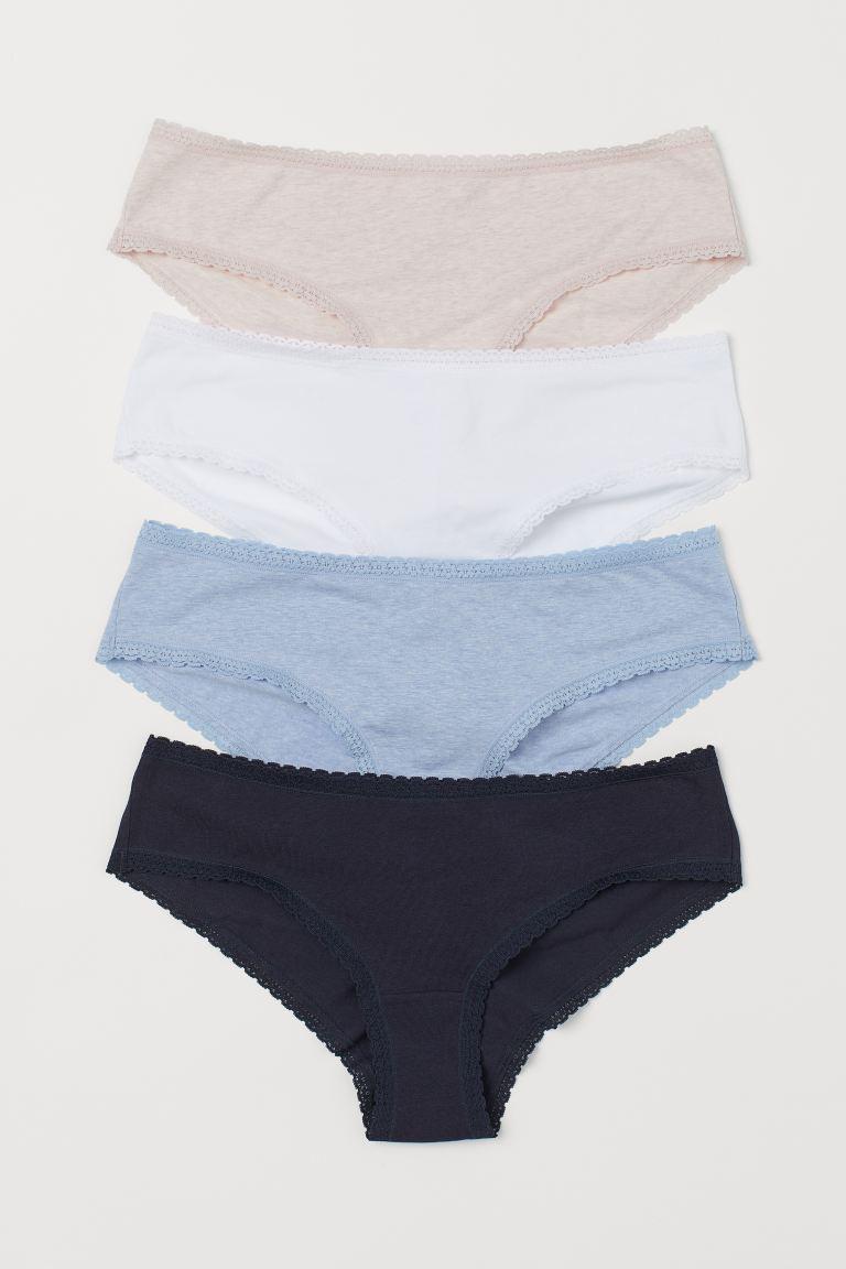 4-pack cotton hipster briefs - Dark blue/Pink marl - Ladies | H&M GB