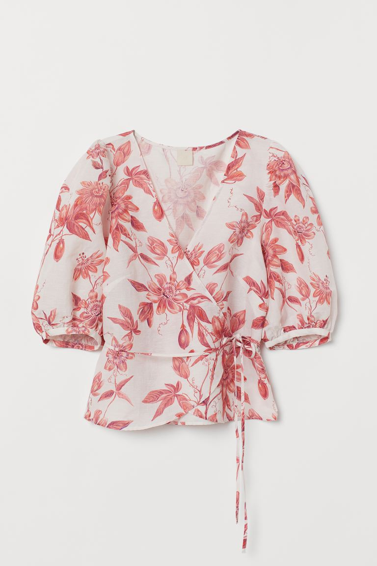Patterned Wrap-front Blouse - White/red floral - Ladies | H&M US