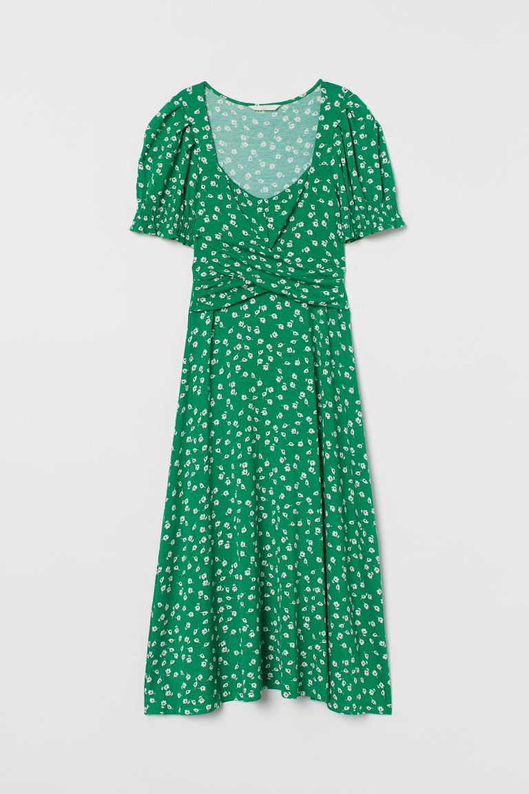 MAMA Patterned jersey dress - Green/Floral - Ladies | H&M GB