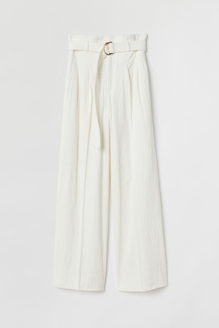 Wide corduroy trousers - Cream - Ladies | H&M GB