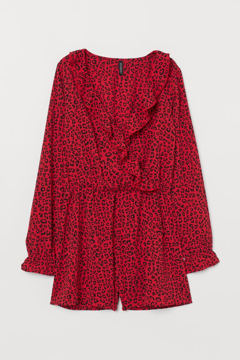 Mono con cuello en V - Rojo/Estampado leopardo - Ladies | H&M US