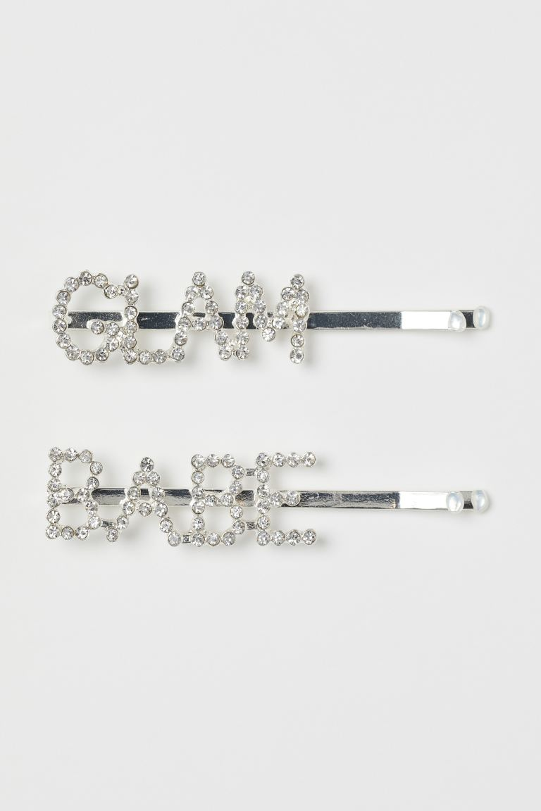 2-pack sparkly hair clips - Silver-coloured/Glam Babe - Ladies   H&M GB