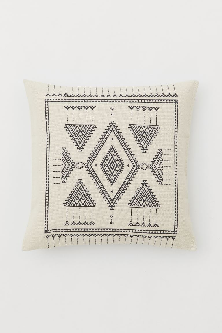 Patterned cotton cushion cover - Light beige/Patterned - Home All | H&M GB