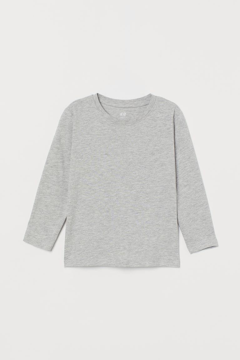 Jersey top - Light grey marl - Kids | H&M GB