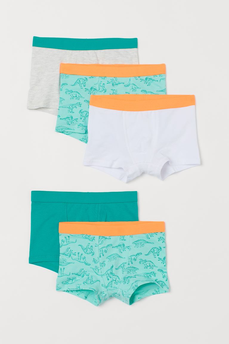 5-pack boxer shorts - Bright green/Dinosaurs - Kids | H&M