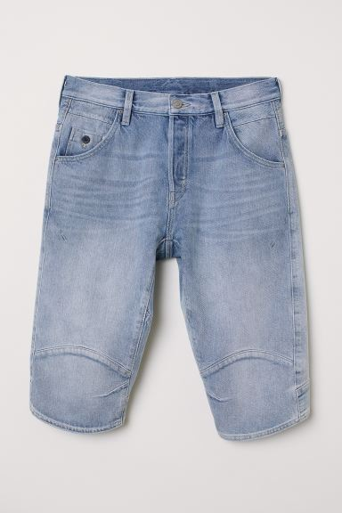 Shorts in denim Straight - Blu denim chiaro - UOMO | H&M IT