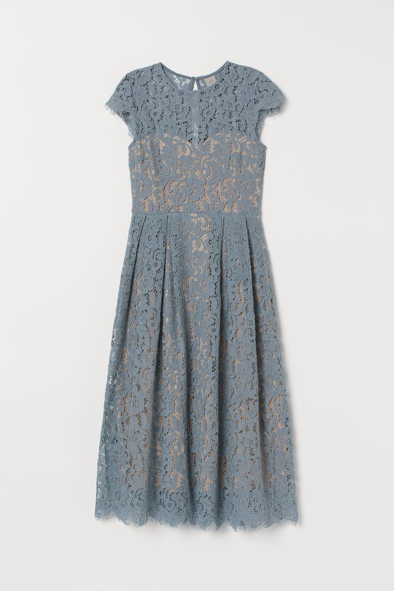 Calf-length lace dress - Turquoise - Ladies | H&M