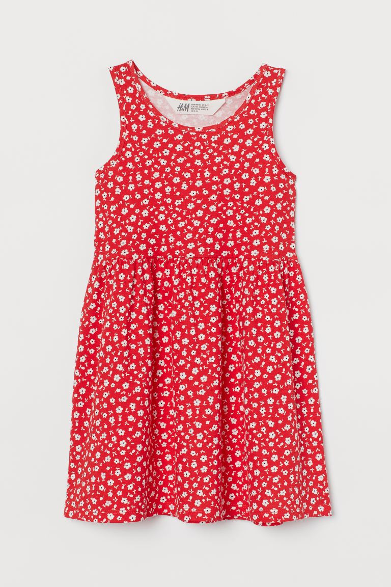Patterned jersey dress - Red/Floral - Kids | H&M