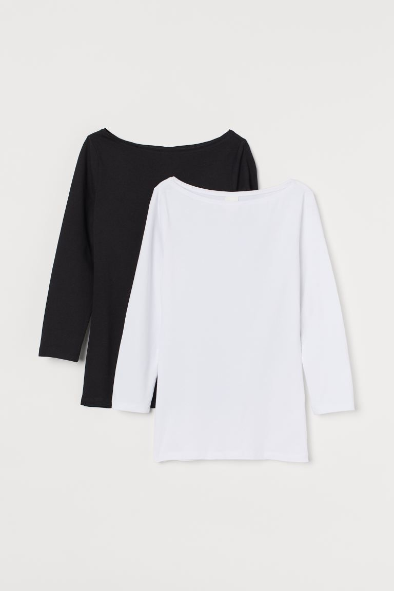 2-pack Boat-neck Tops - Black/white - Ladies | H&M CA