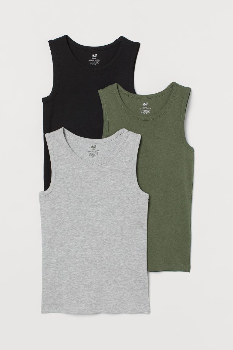 3-pack cotton vest tops - Khaki green/Grey marl/Black - Kids | H&M GB