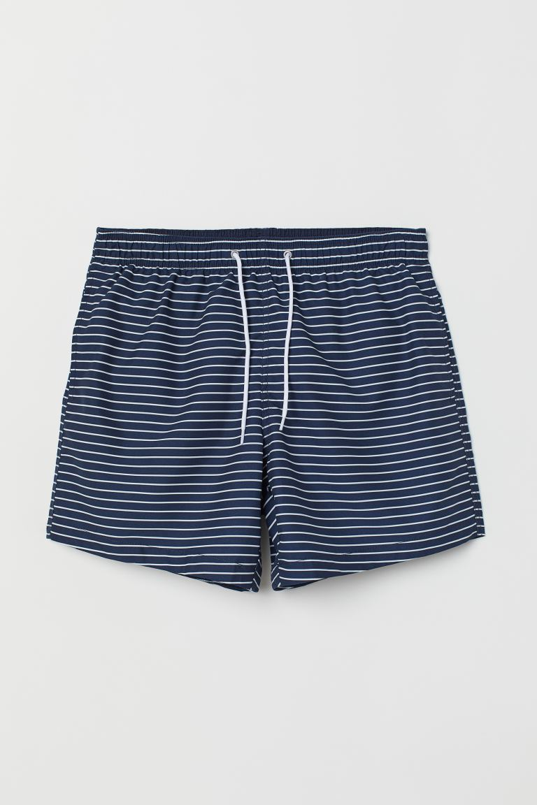 Printed swim shorts - Blue/White striped - Men | H&M