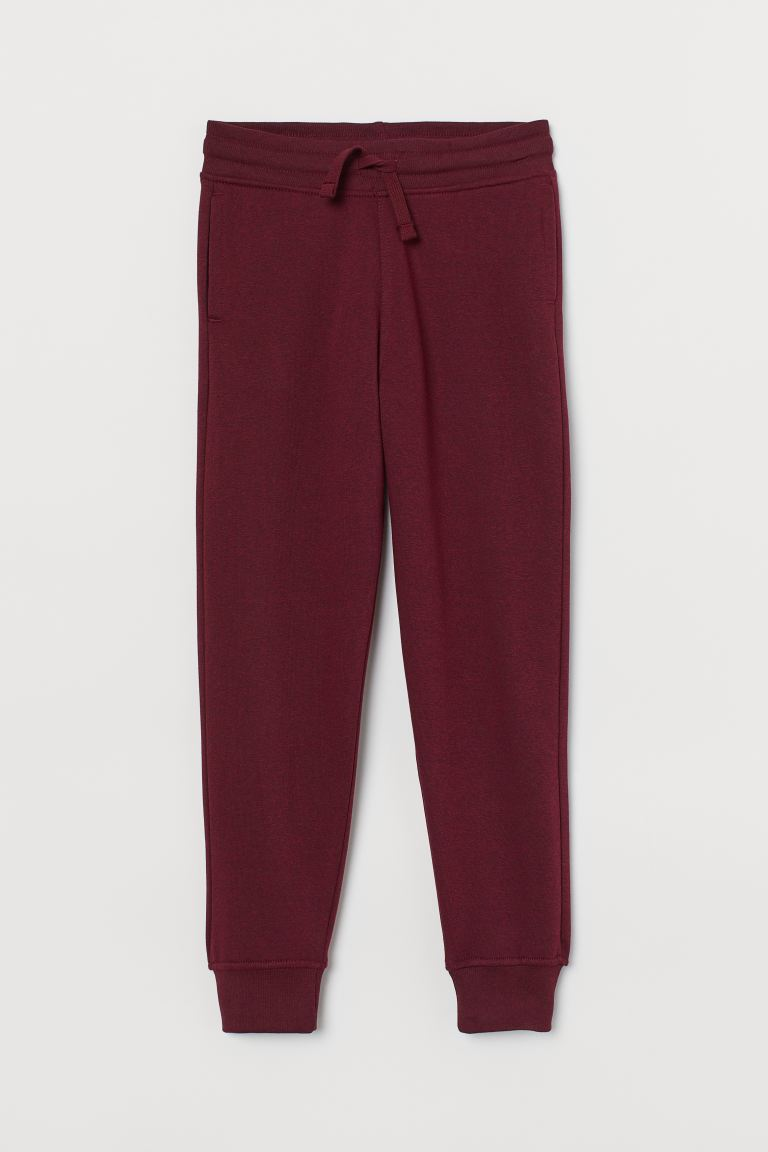 Cotton-blend Joggers - Dark red melange - Kids | H&M CA