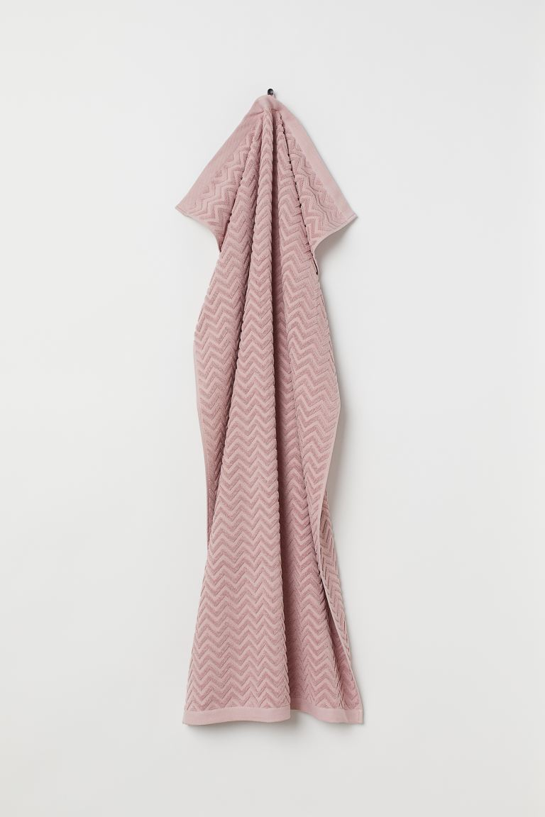 Jacquard-patterned bath towel - Light pink - Home All | H&M GB
