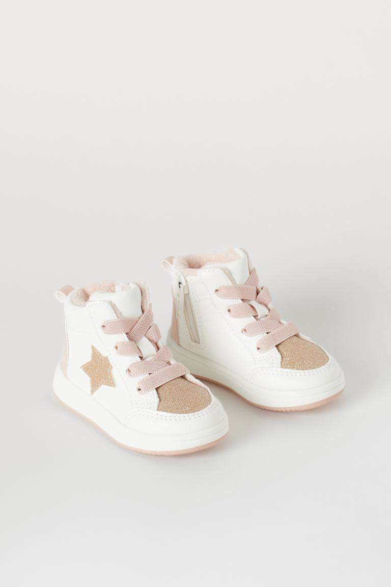 Fleece-lined High Tops - White/pink - Kids | H&M CA