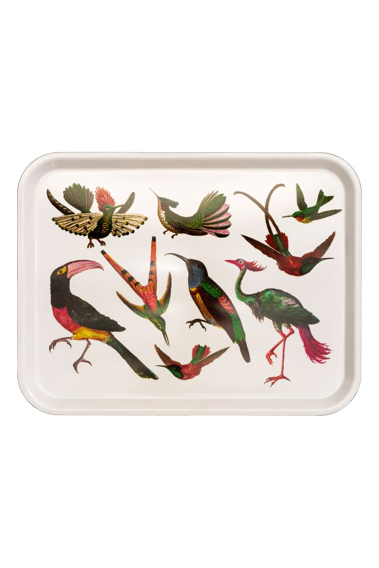Patterned Tray - White/birds - Home All | H&M US