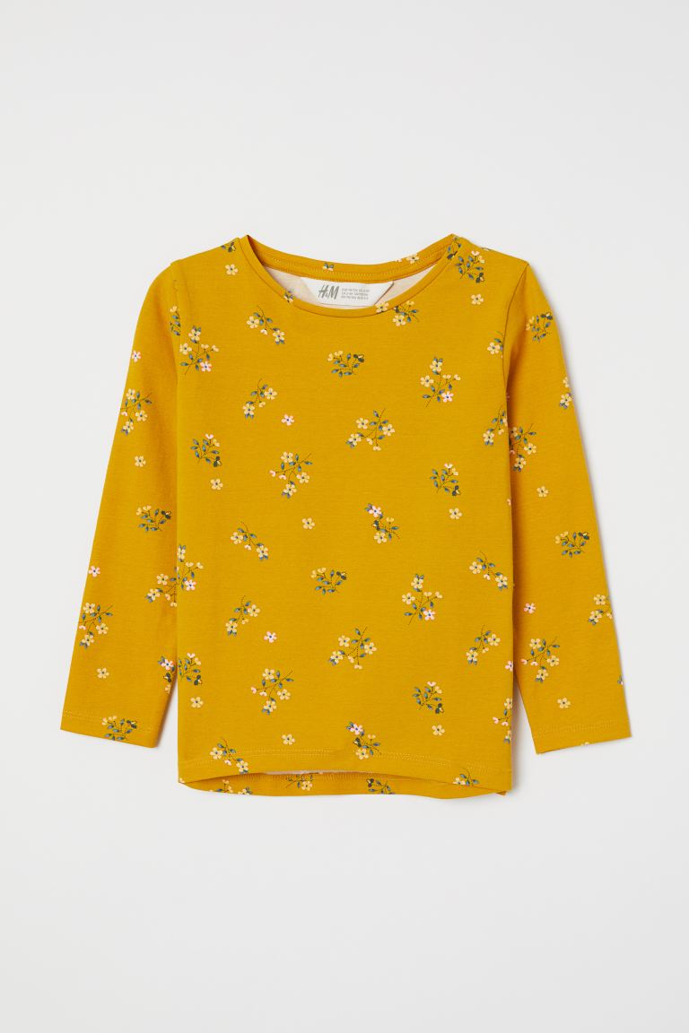 Cotton Top with Printed Design - Dark yellow/floral - Kids | H&M CA