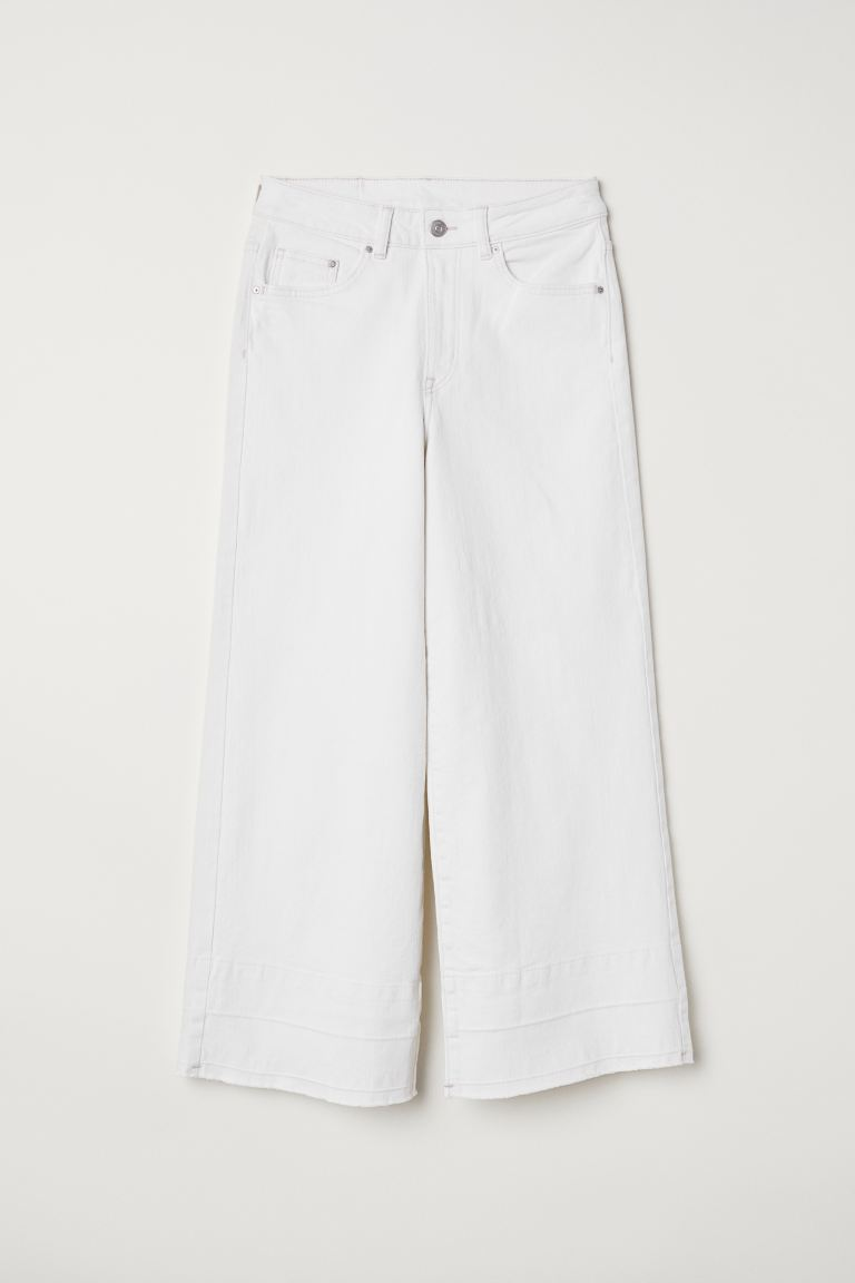 Denim culottes High waist - White denim - Ladies | H&M IN